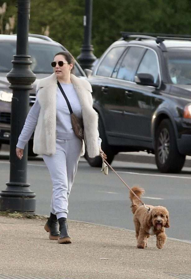 Kelly Brook - Takes a dog walk with boyfriend Jeremy Parisi in London