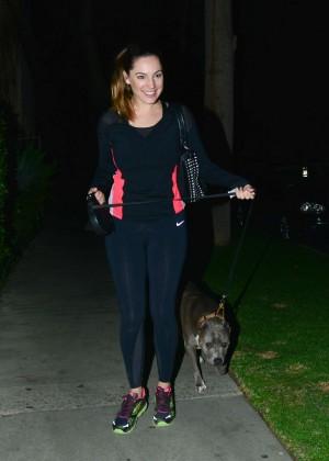 Kelly Brook - Walking her dog in LA