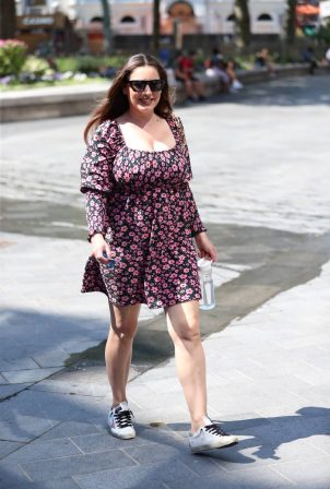 Kelly Brook - Wearing florall summer dress at Heart Radio in London