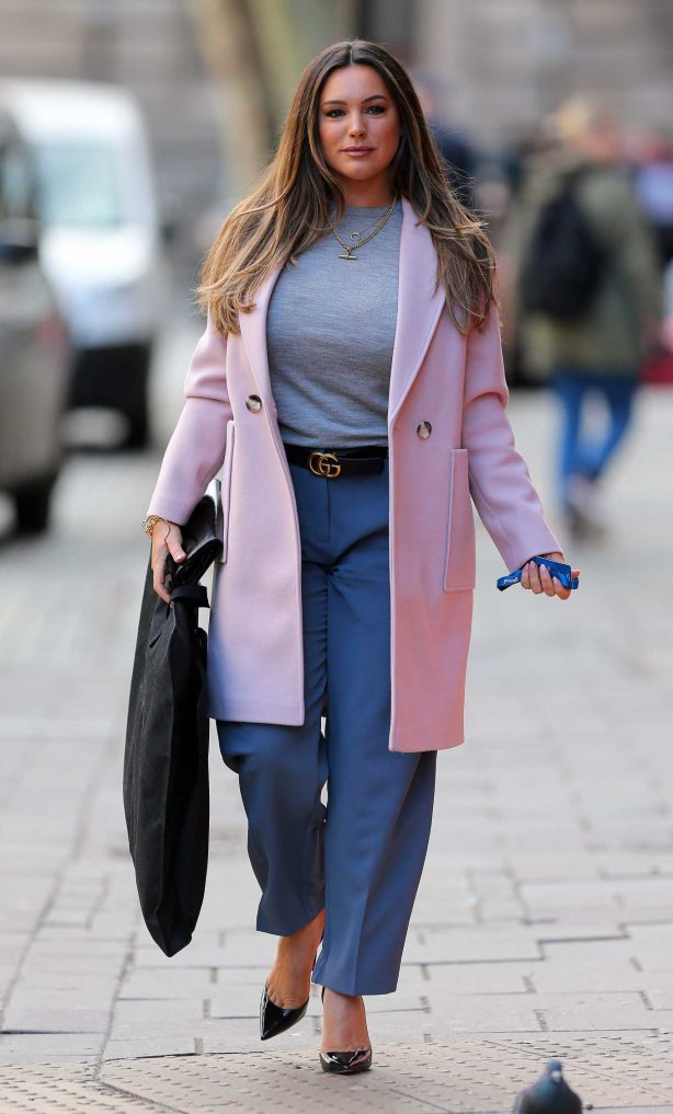 Kelly Brook - Wearing stylish pink coat in London