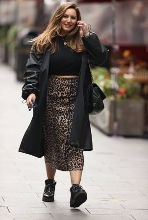 Kelly Brook - Wears animal print skirt and coat in London