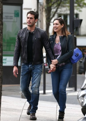 Kelly Brook with her boyfriend out in Paris