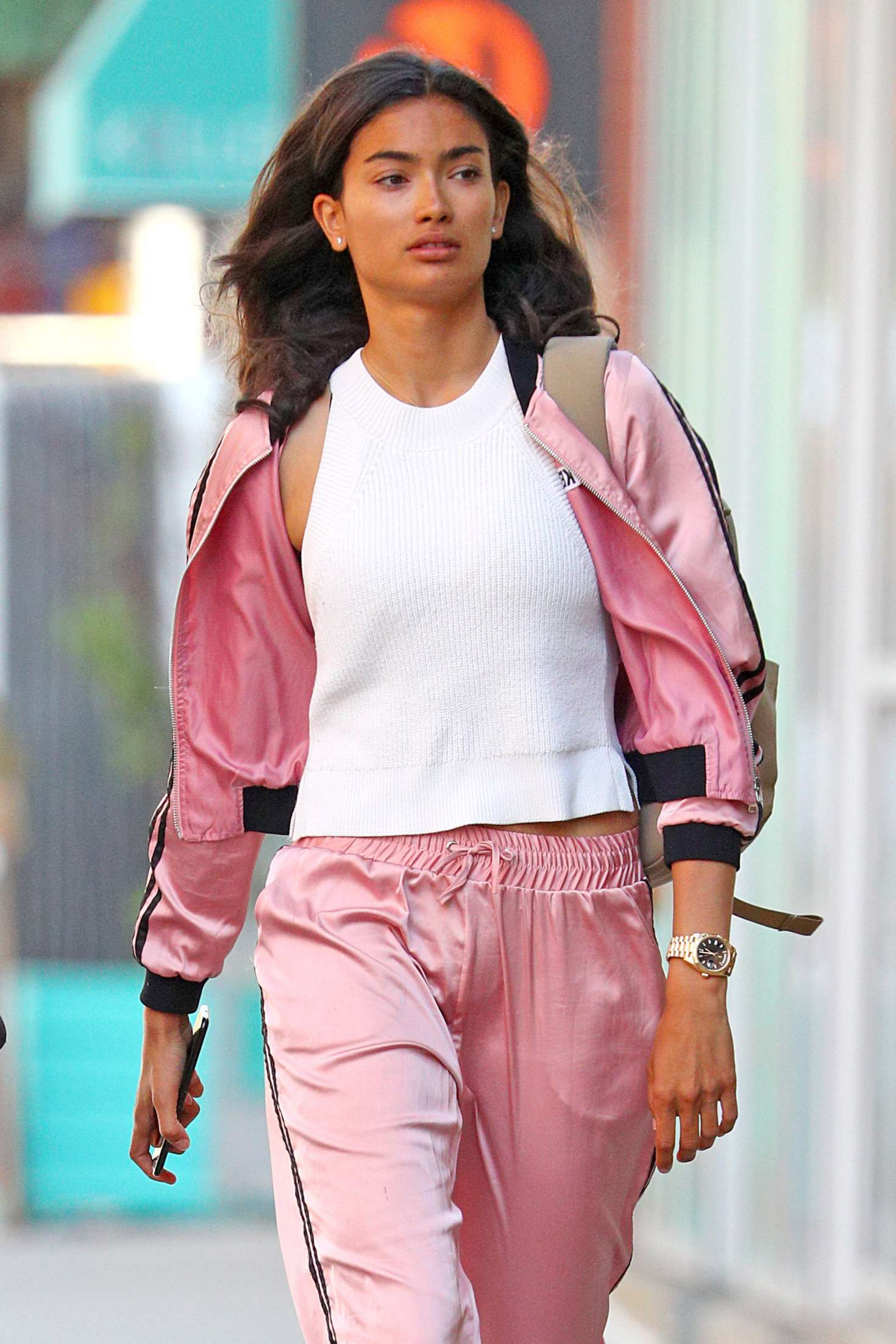 Kelly Gale in Bright Pink Tracksuit - Out in New York City