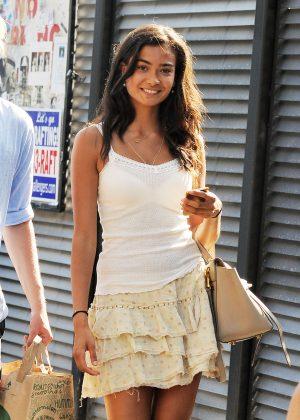 Kelly Gale in Short Skirt out in New York