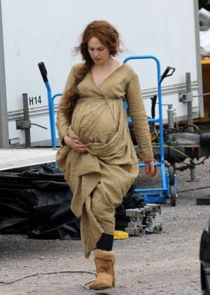 Kelly Reilly on the set of 'Britannia'
