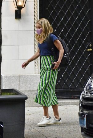 Kelly Ripa - In a stripe green skirt out in New York City
