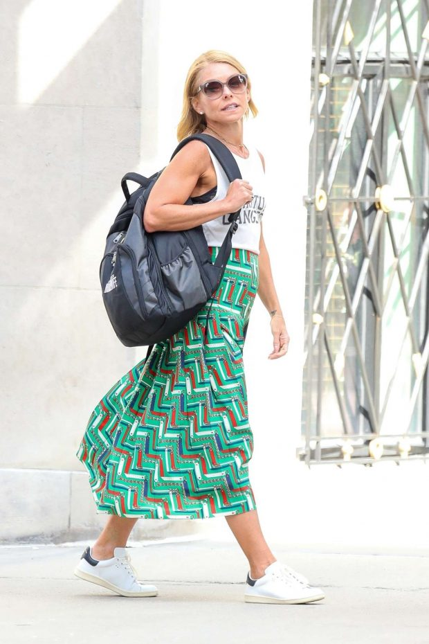 Kelly Ripa in Long Skirt - Out in New York City