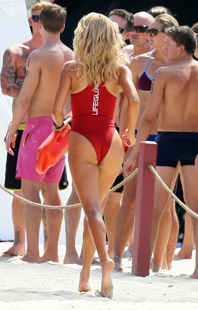 Kelly Rohrbach - Hot in red swimsuit filming Baywatch in Georgia
