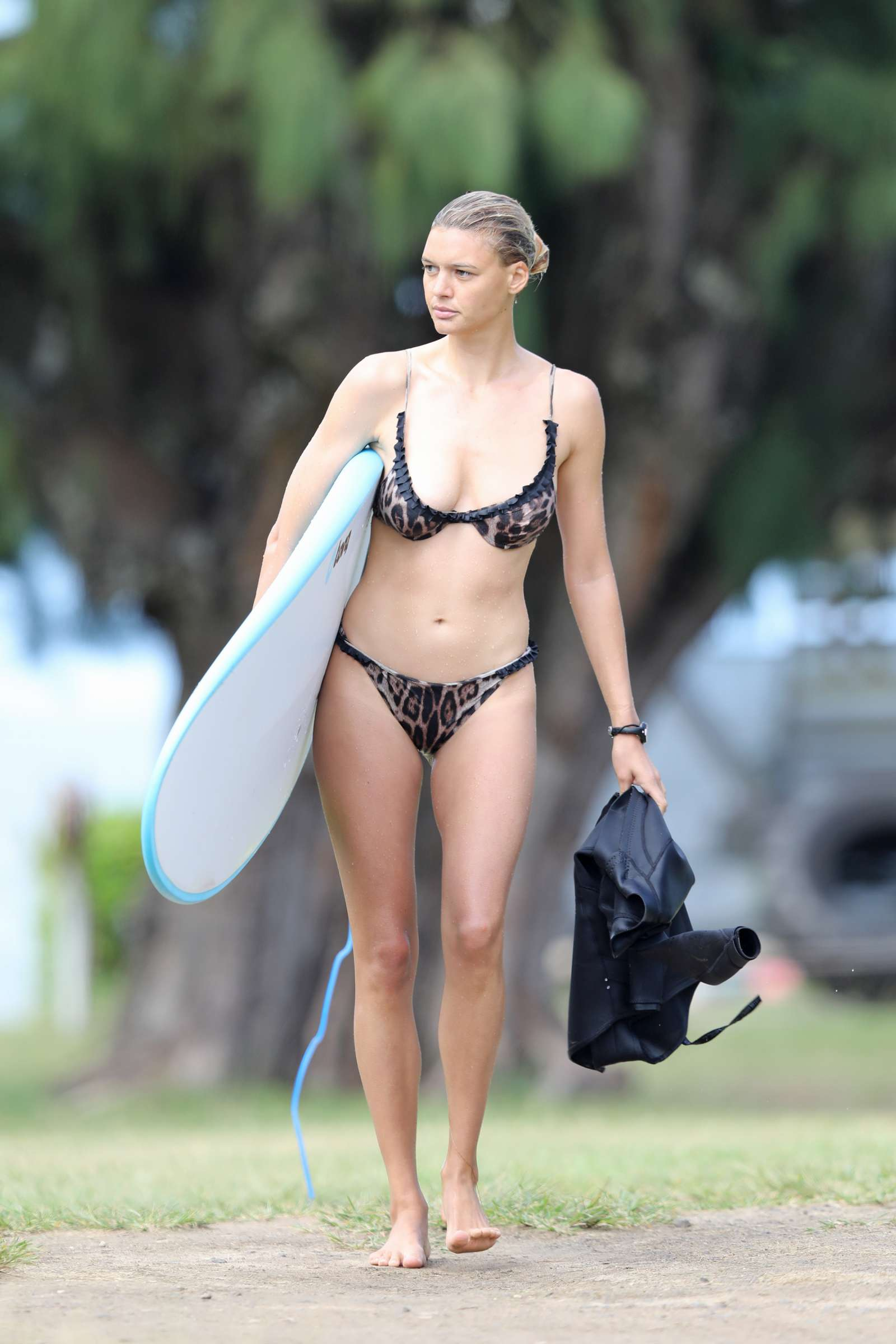 Kelly Rohrbach in Leopard Bikini Surfing in Hawaii