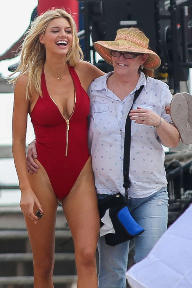 Kelly Rohrbach in Red Swimsuit on'Baywatch' set in Boca Raton adds