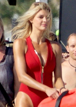 Kelly Rohrbach in Swimsuit Filming 'Baywatch' in Georgia