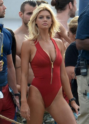Kelly Rohrbach on 'Baywatch' set in Miami