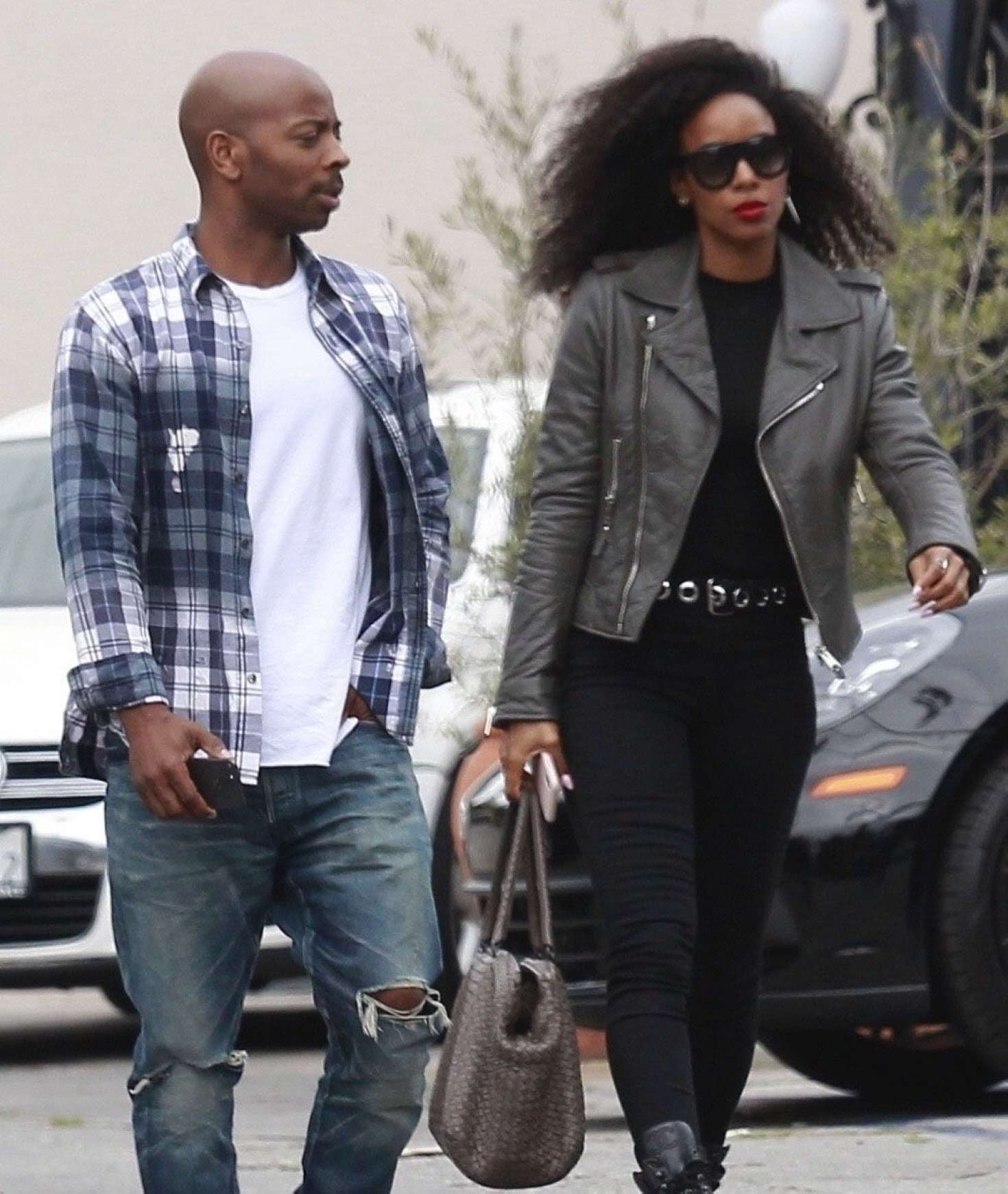 Kelly Rowland and her husband Tim Weatherspoon out in West