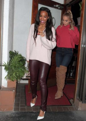 Kelly Rowland and model Jasmine Sanders at Madeo in West Hollywood
