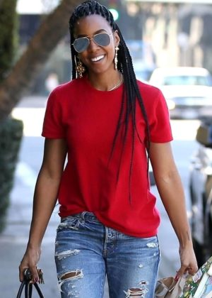 Kelly Rowland in Jeans and Red Shirt out in West Hollywood