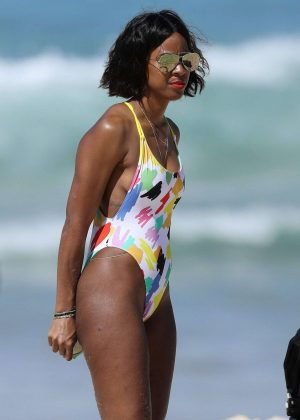Kelly Rowland in Swimsuit on the Beach in Sydney
