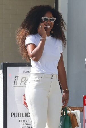 Kelly Rowland - In white denim shopping with a friend in Beverly Hills