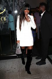 Kelly Rowland in White suit jacket and knee high boots at Catch LA in West Hollywood