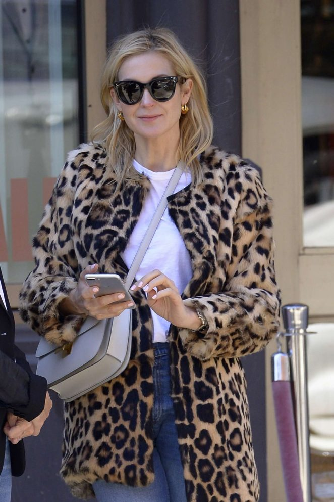 Kelly Rutherford in Leopard fur coat at Cipriani's in NY