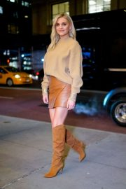 Kelsea Ballerini in Leather Mini Skirt and High Boots in New York City