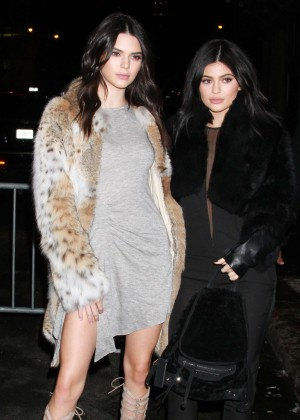 Kendall and Kylie Jenner - Arriving at their Spring 2016 Collection Launch Party in Tribeca