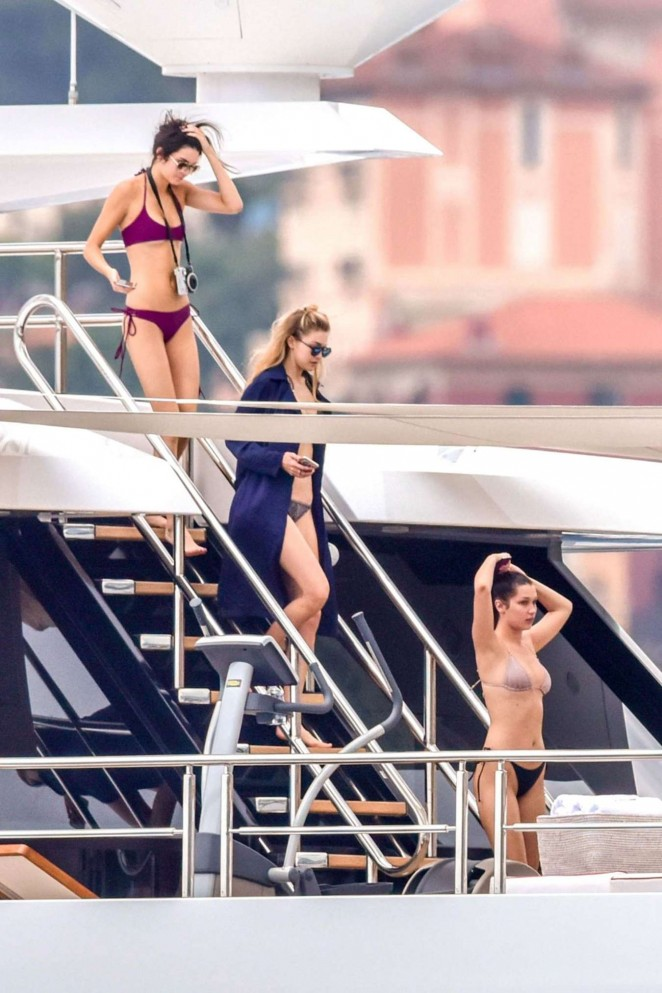 Kendall, Hailey, Bella & Gigi in Bikini On a Yacht in Monte Carlo
