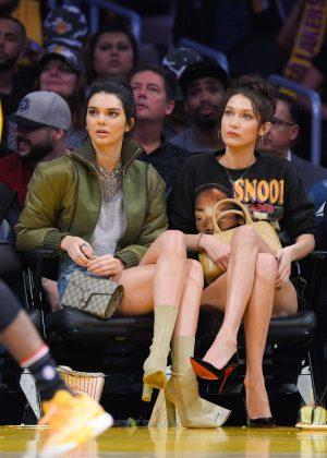 Kendall Jenner and Bella Hadid at LA Lakers vs Dallas Mavericks Game in LA