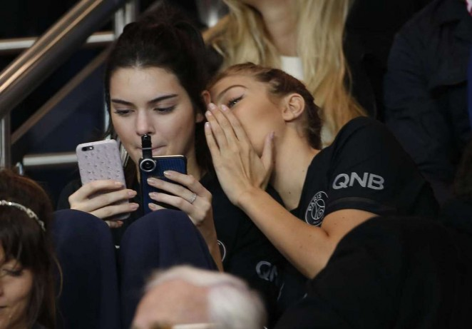 Kendall Jenner and Gigi Hadid at Soccer Match in Paris