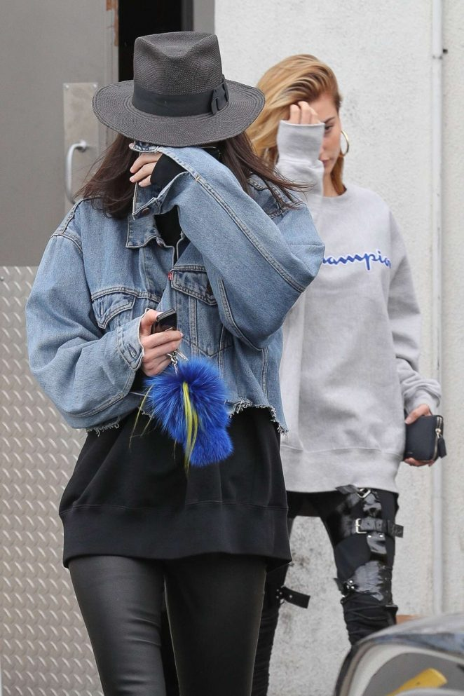 Kendall Jenner and Hailey Baldwin exit a hair salon in LA