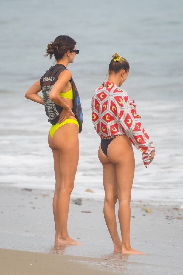 Kendall Jenner and Hailey Bieber - Bikini candids at the Kardashian's beach house in Malibu