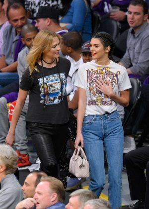 Kendall Jenner and Karlie Kloss at Houston Rockets vs Los Angeles Lakers in LA