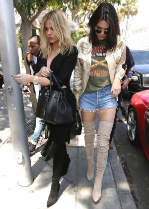 Kendall Jenner and Khloe Kardashian - Arriving at il Pastaio in Beverly Hills