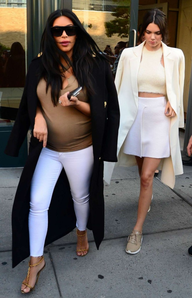 Kendall Jenner and Kim Kardashian out in SoHo