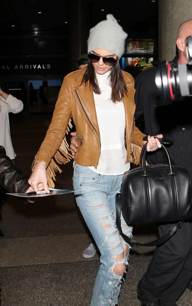 Kendall Jenner in Ripped jeans LAX -11