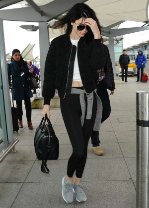 Kendall Jenner in Leggings at Heathrow Airport in London