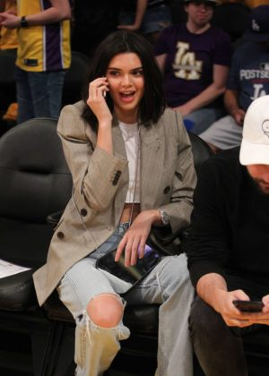 Kendall Jenner at the Lakers vs. Clippers game in Los Angeles