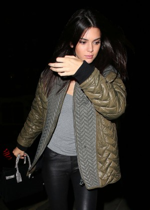 Kendall Jenner in Leather at Chiltern Firehouse in London