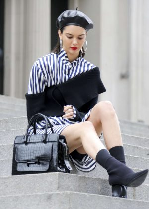Kendall Jenner doing a photoshoot in different locations in NYC