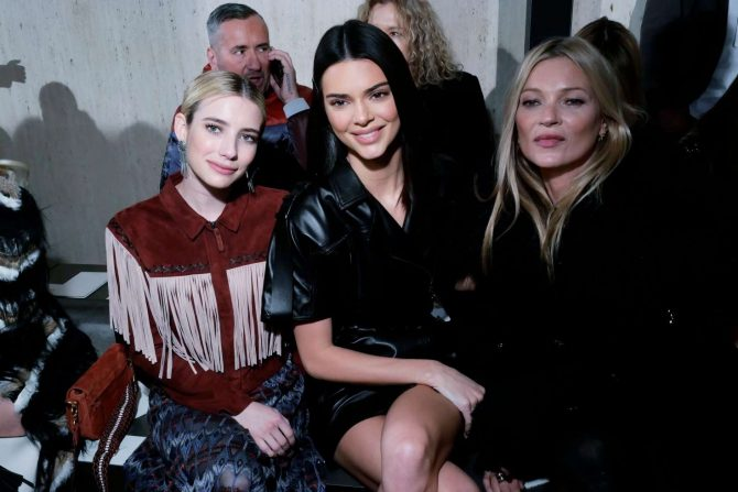 Kendall Jenner, Emma Roberts and Kate Moss - Longchamp's Show in New York