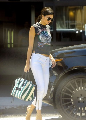 Kendall Jenner in White Pants out in Woodland Hills