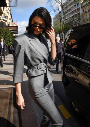 Kendall Jenner - Heads to Adidas store in Paris