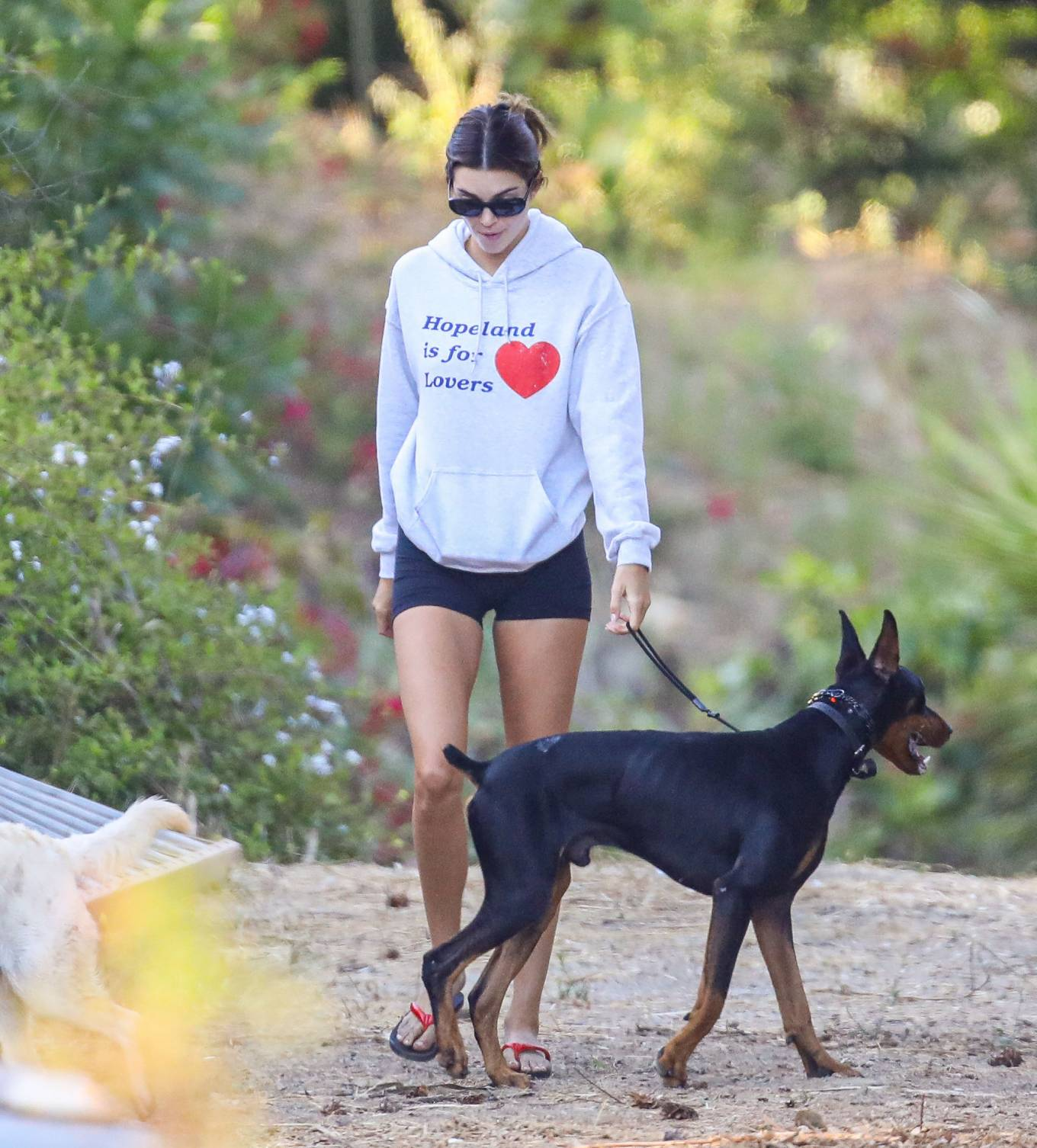 Kendall Jenner - Hiking in Malibu with doberman and dad in Malibu