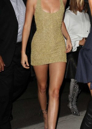 Kendall Jenner - Hot in tight mini golden dress outside Kim Kardashian's book launch in NYC