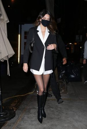 Kendall Jenner - In a tuxedo dress at Carbone in New York