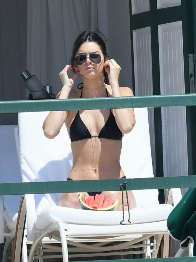 Kendall Jenner in Black Bikini Pic 1 of 35