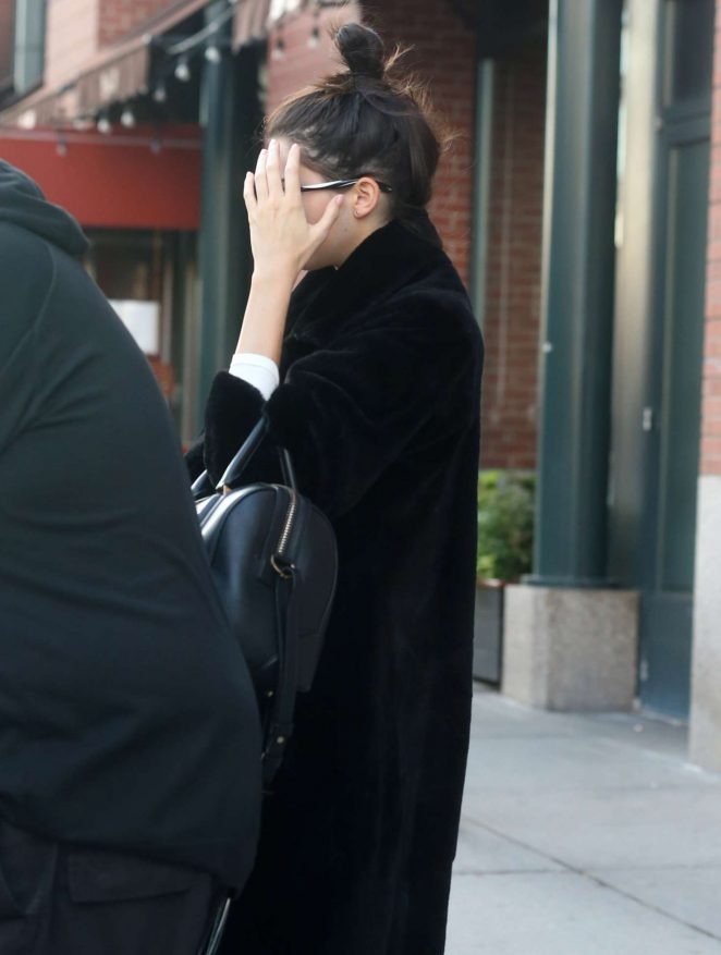 Kendall Jenner in Black Coat in New York City