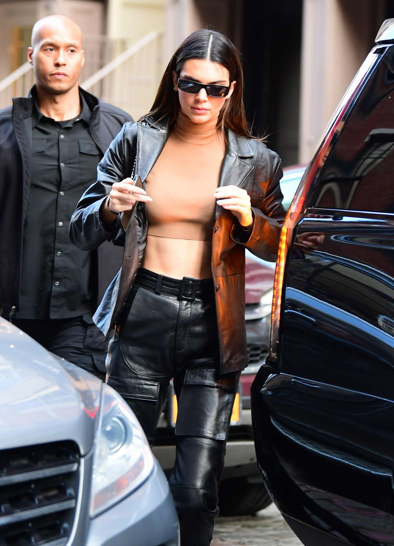 Kendall Jenner - In black leather out in NYC