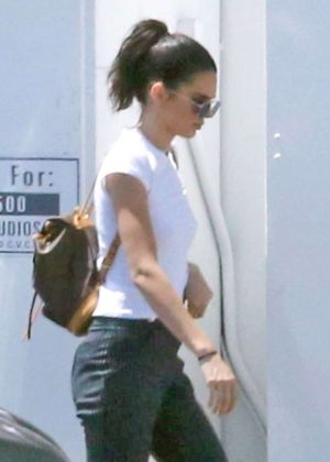 Kendall Jenner in black pants out in LA