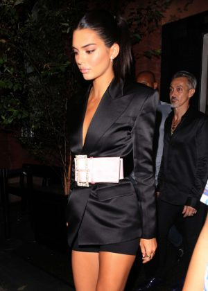 Kendall Jenner in Black Satin Blazer Dress - Out in New York