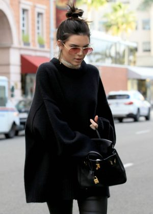 Kendall Jenner in Black Shopping in Beverly Hills
